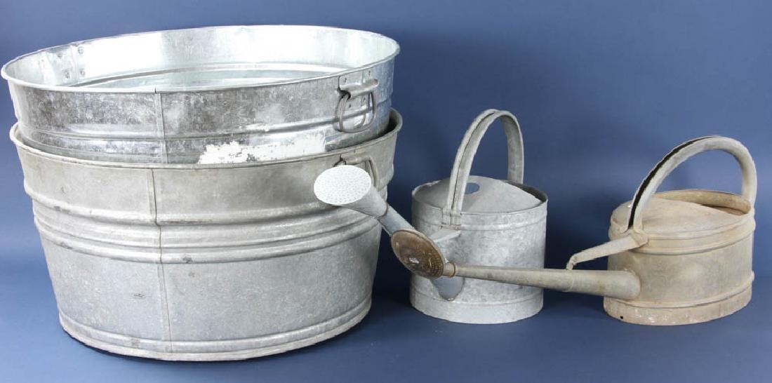 Group of Steel Tubs, Watering Pails