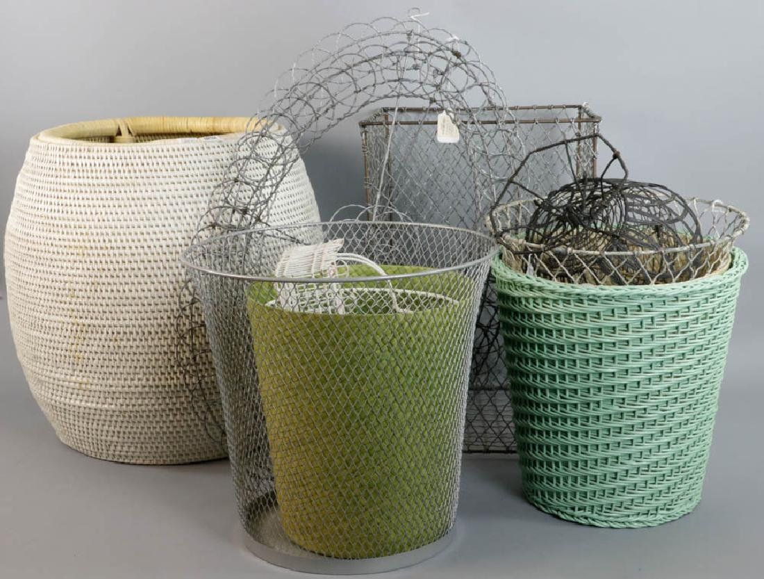 Group of Wire Bamboo Baskets