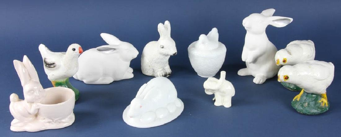 Vintage Stone and Glass Rabbits, Birds
