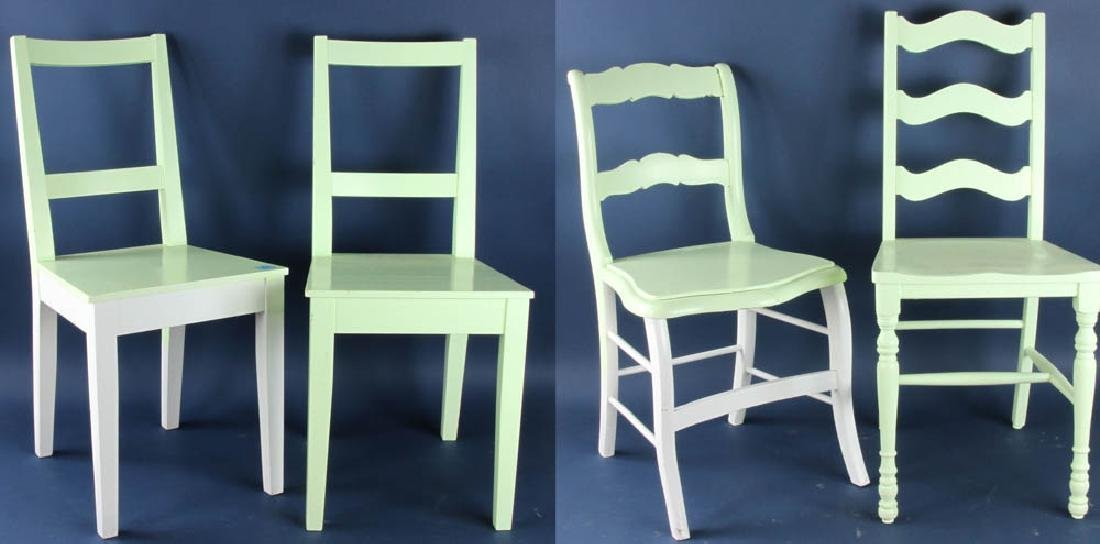 Four Assorted Green Painted Chairs