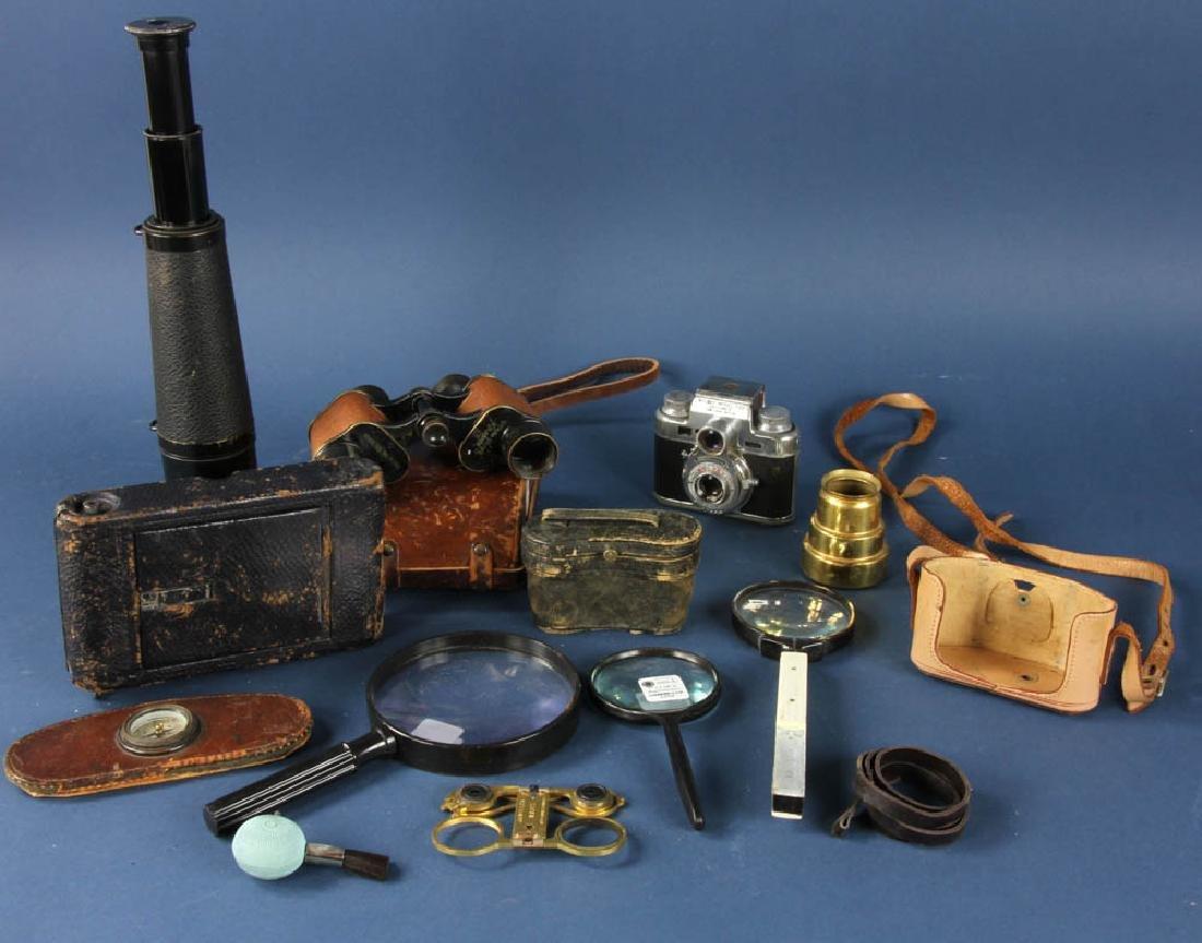 Group of Binoculars, Cameras, Mag Glasses