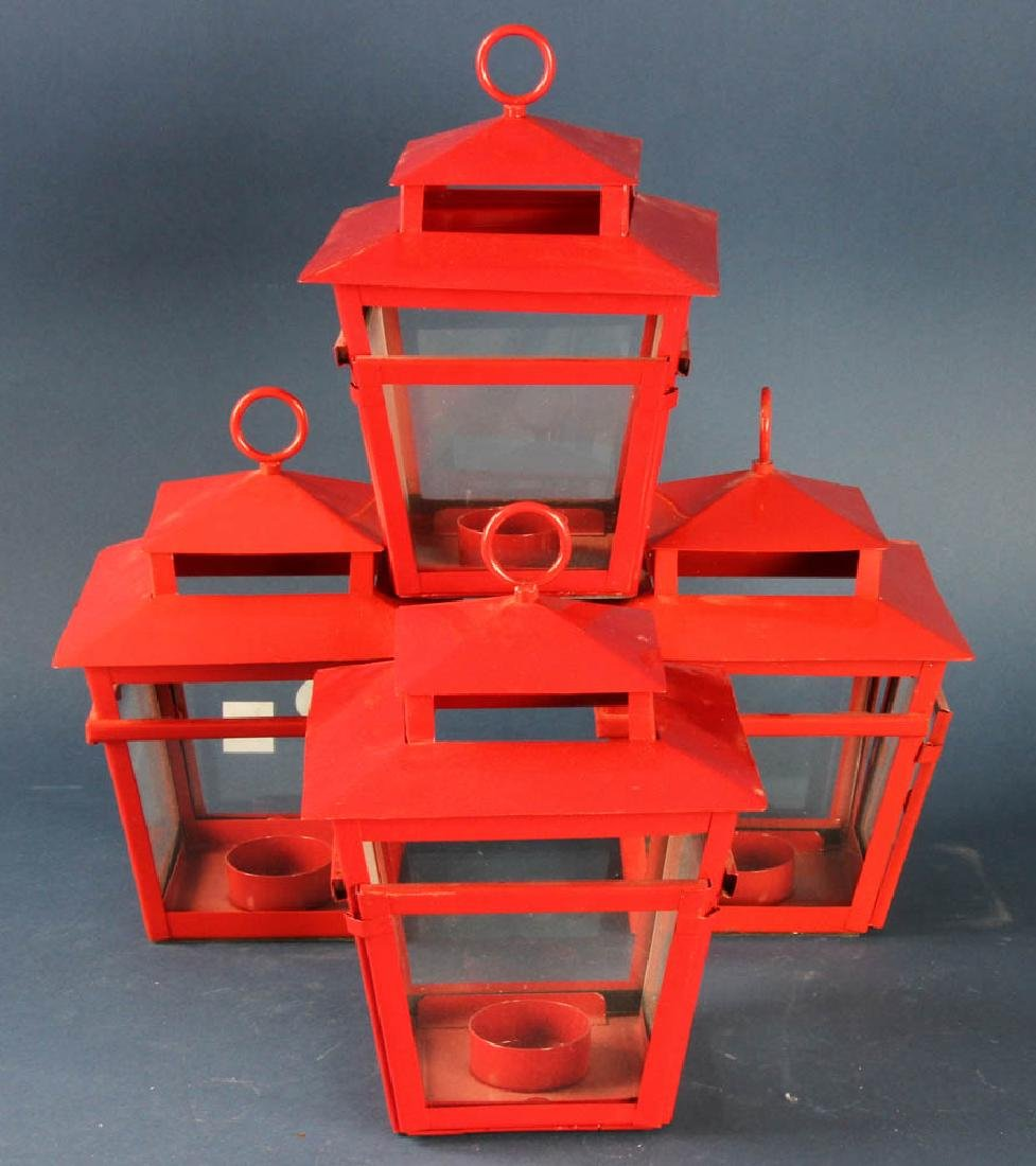 Four Red Metal Hanging Lanterns