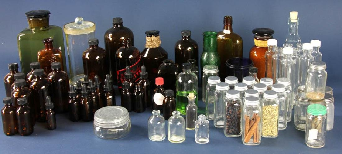Group of Medicine and Storage Bottles