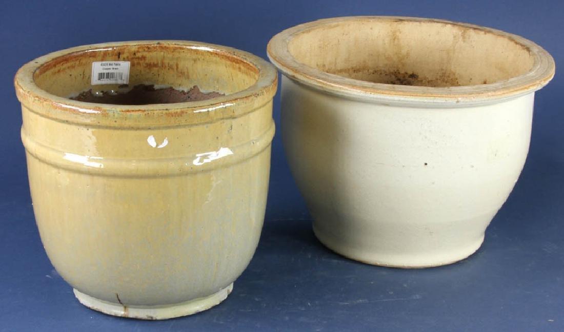 Two Glazed Pottery Planters - 2