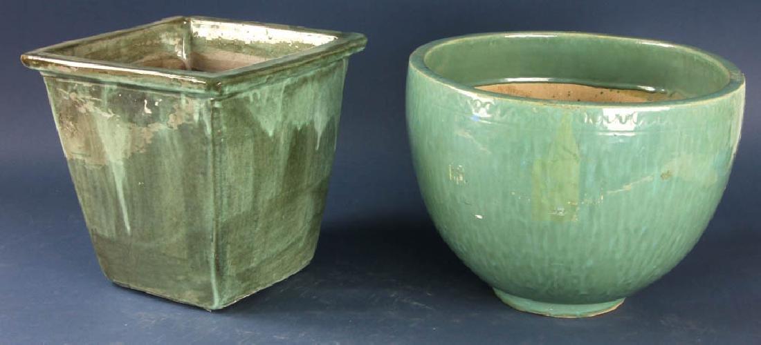 Two Glazed Pottery Planters