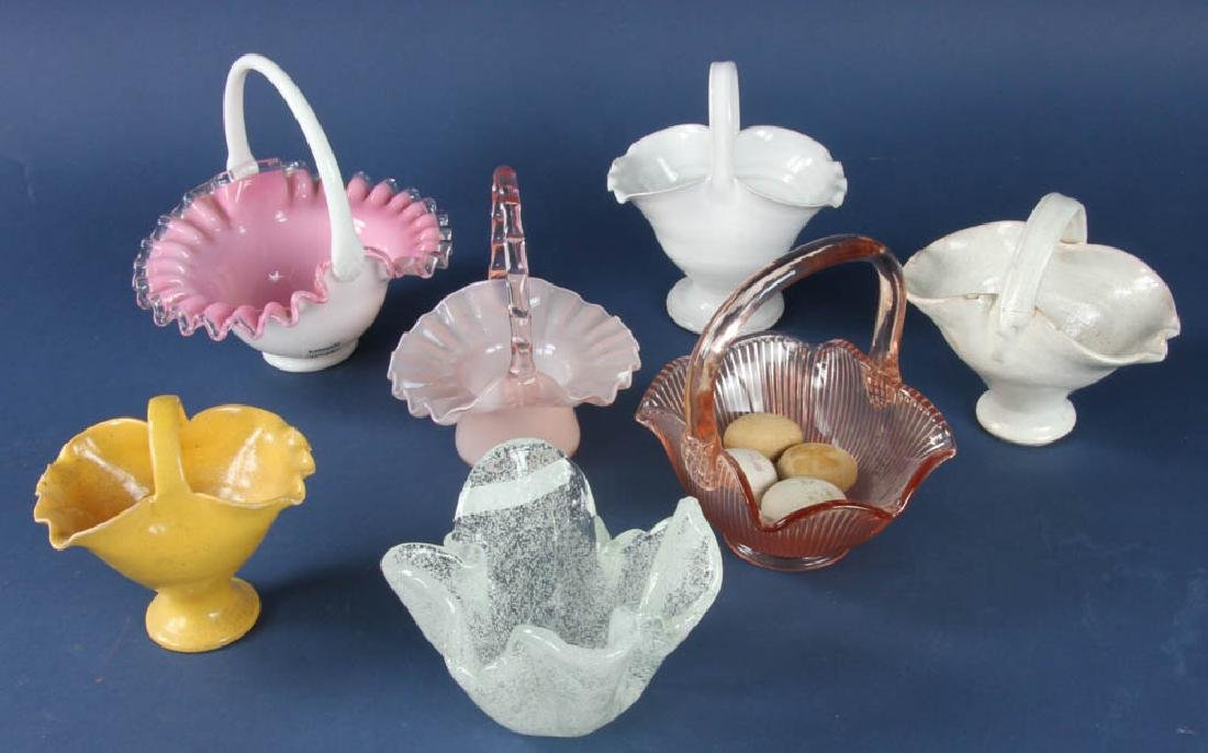 Group of Seven Glass Easter Baskets