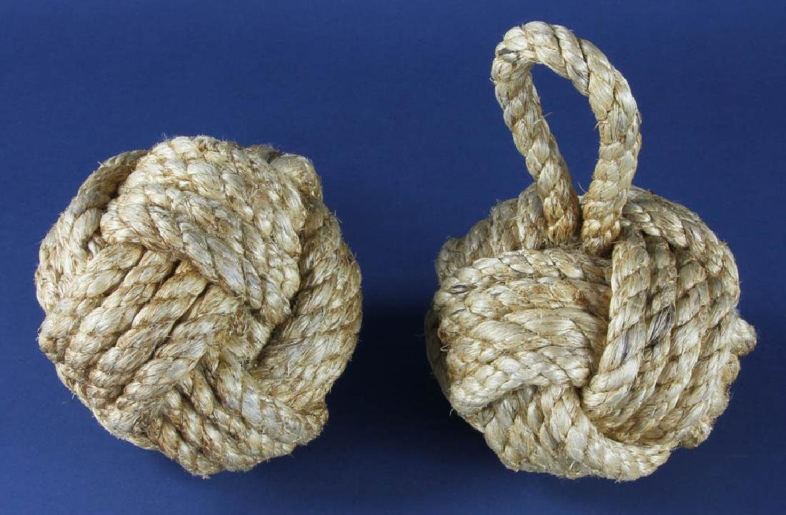 Pair of Nautical Knot Rope Doorstops - 3