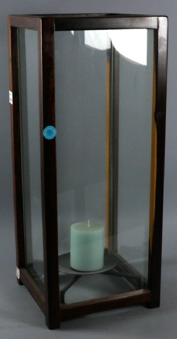 Wood and Glass Candle Lantern