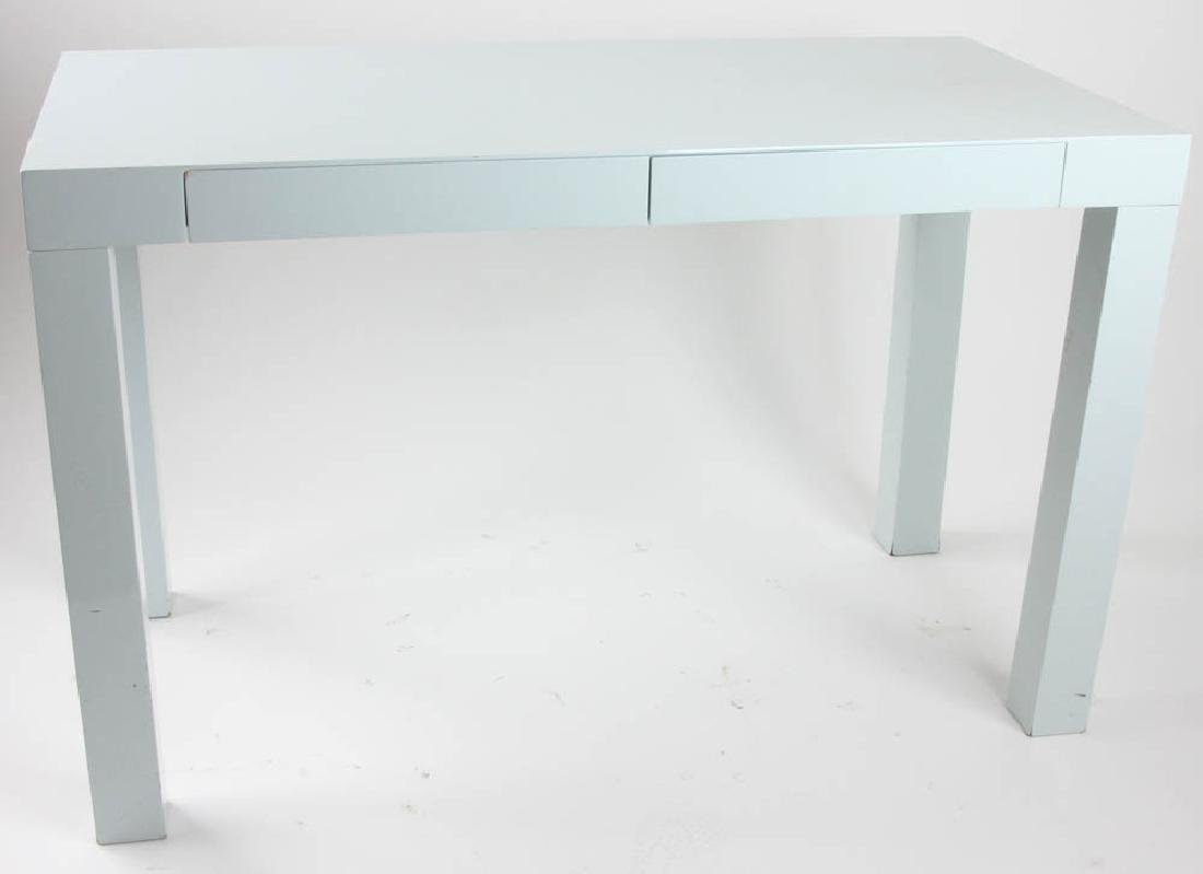 West Elm Grey Lacquered Parsons Table