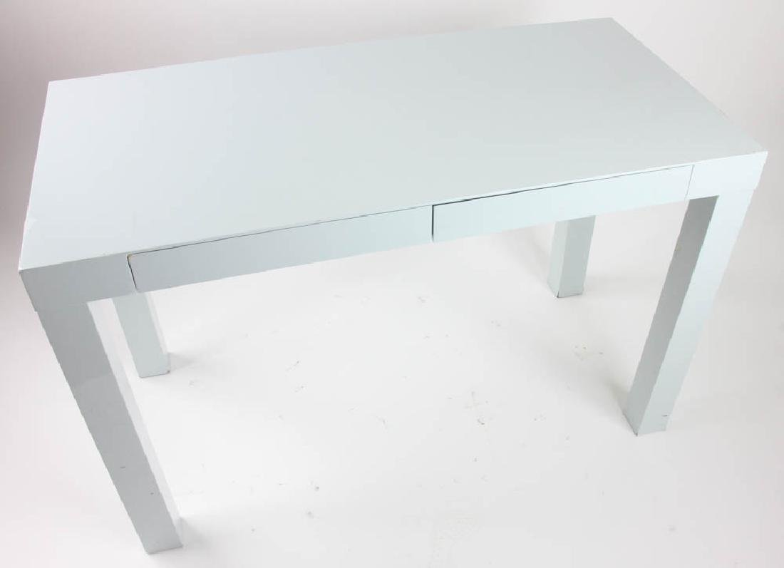 West Elm Grey Lacquered Parsons Table - 2