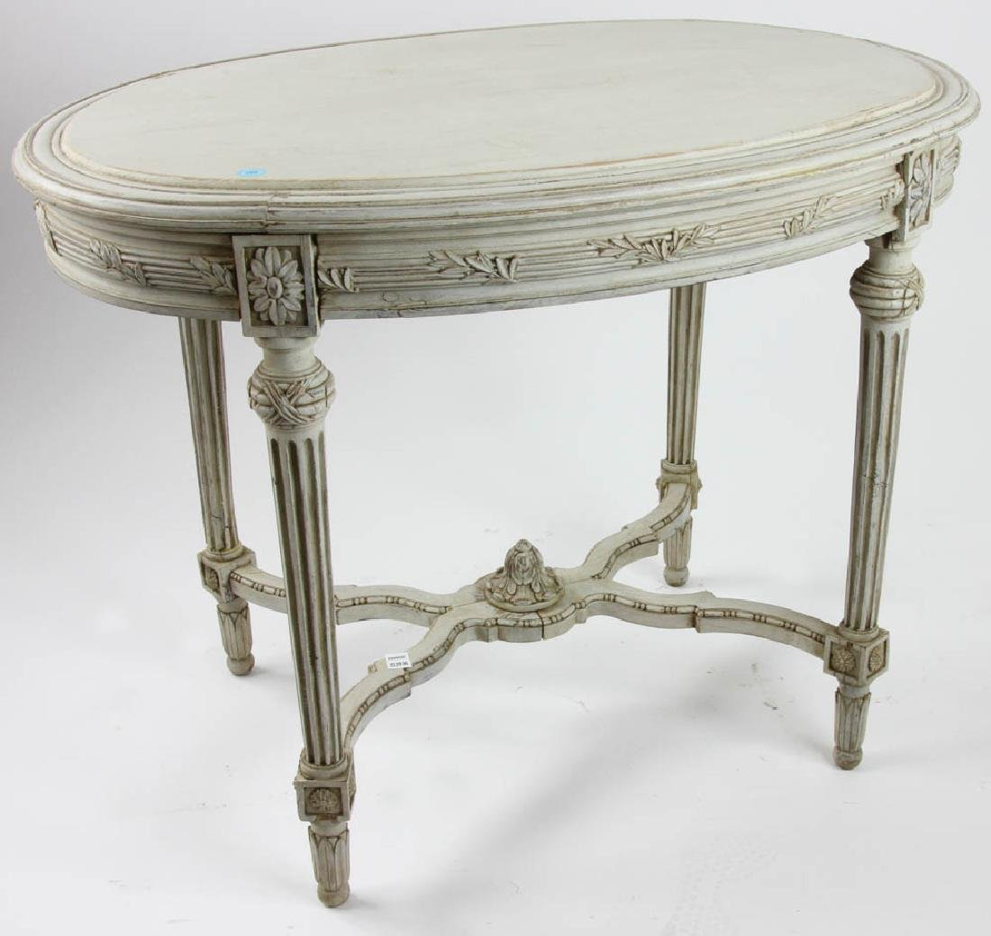 Antique French Carved and Painted Table