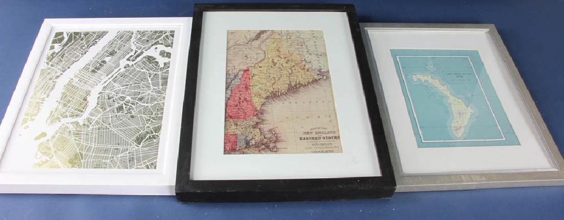 Three Framed Prints of Maps