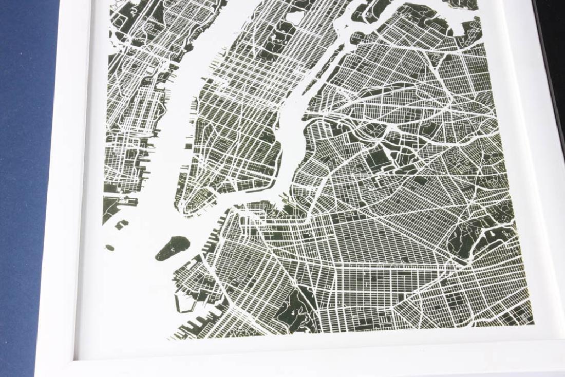 Three Framed Prints of Maps - 2