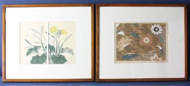Two Vintage Asian Woodblock Prints
