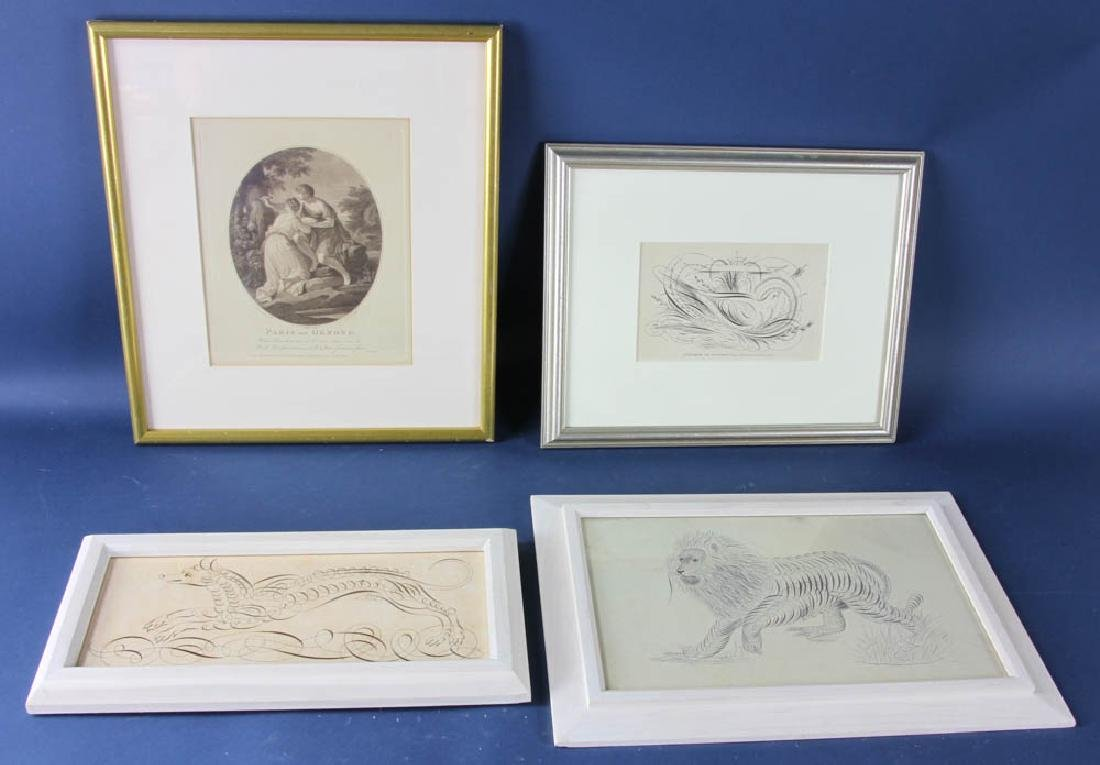 Four Miscellaneous Framed Pieces