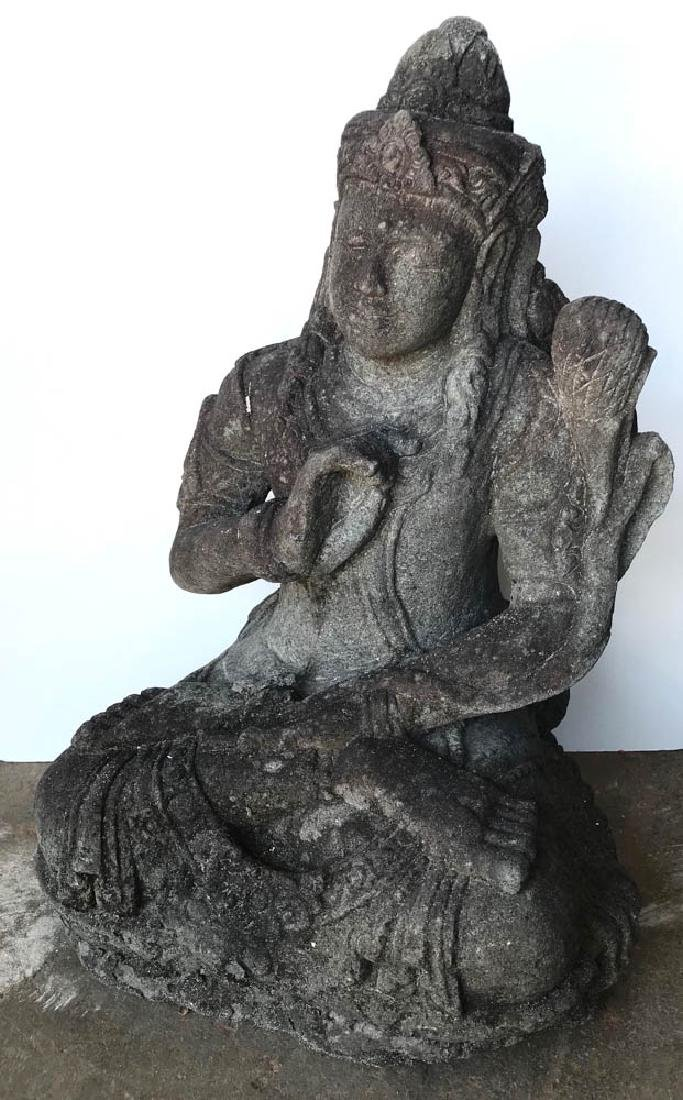Antique Carved Stone Seated Indian