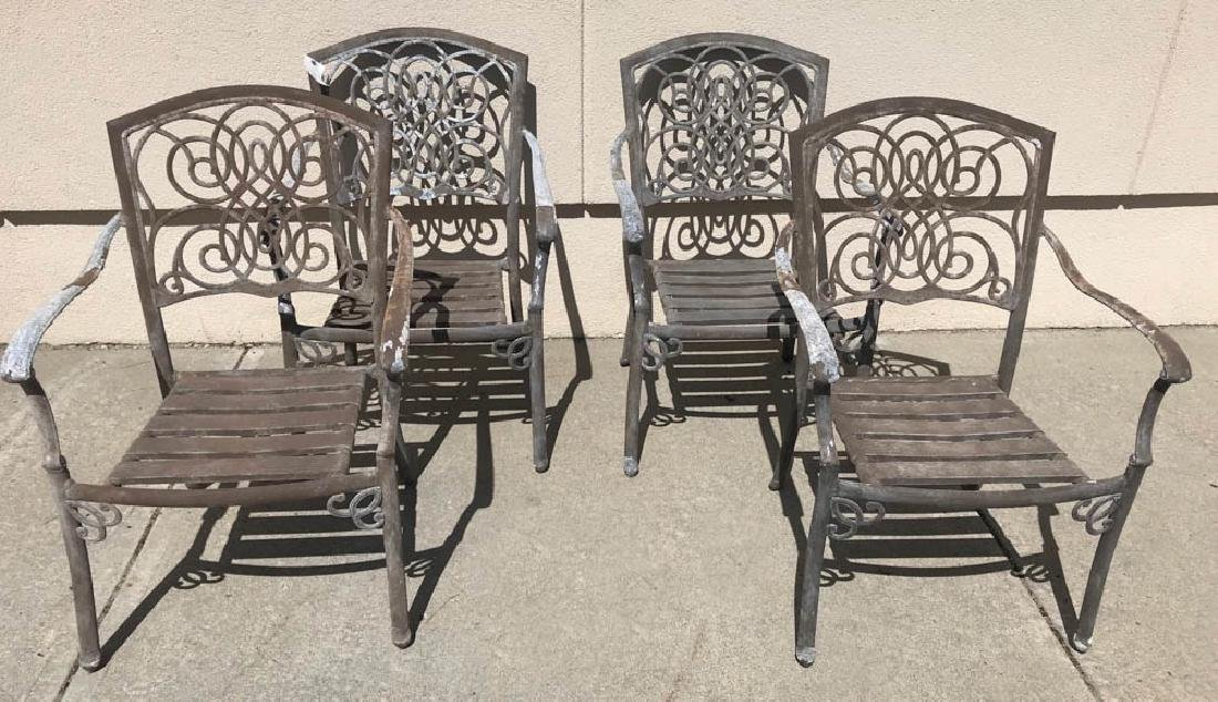 Set of Four Cast Aluminum Armchairs