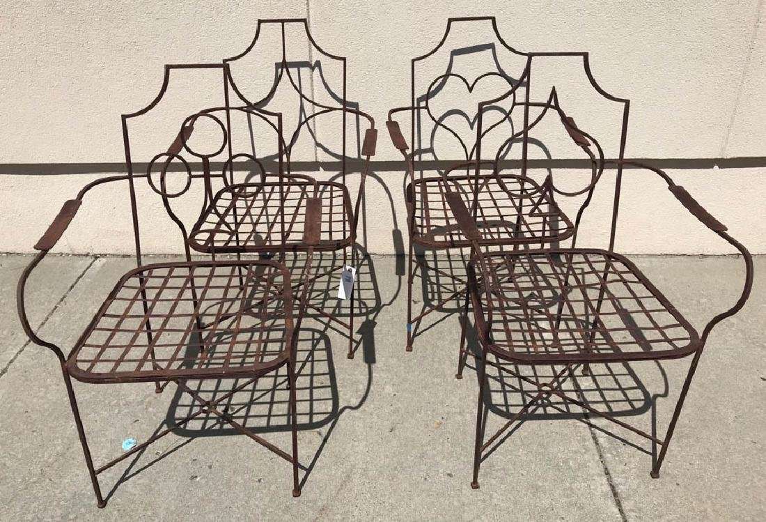 Set of Four Wrought Iron Armchairs