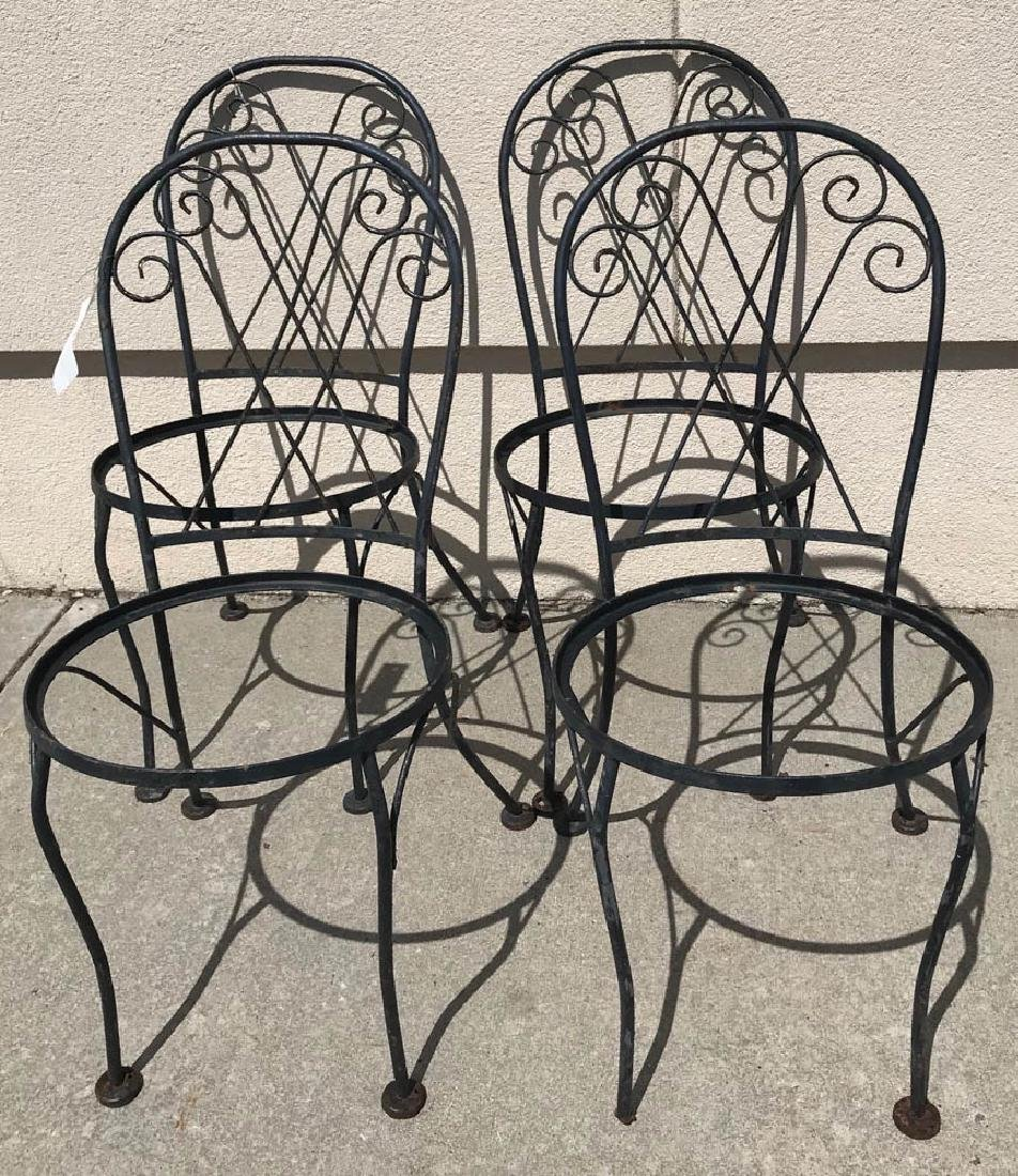 Set of Four Black Wrought Iron Chairs