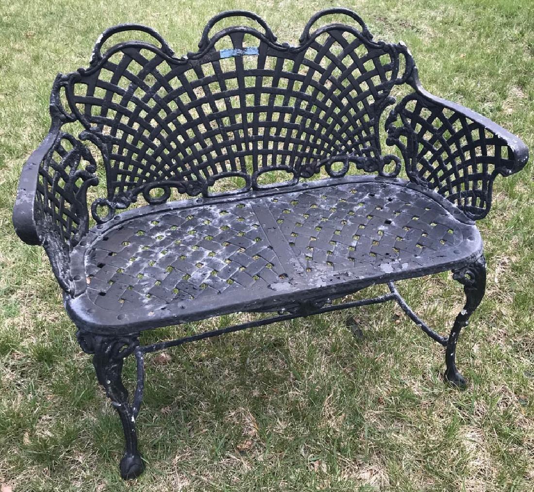 Cast Aluminum Black Painted Bench