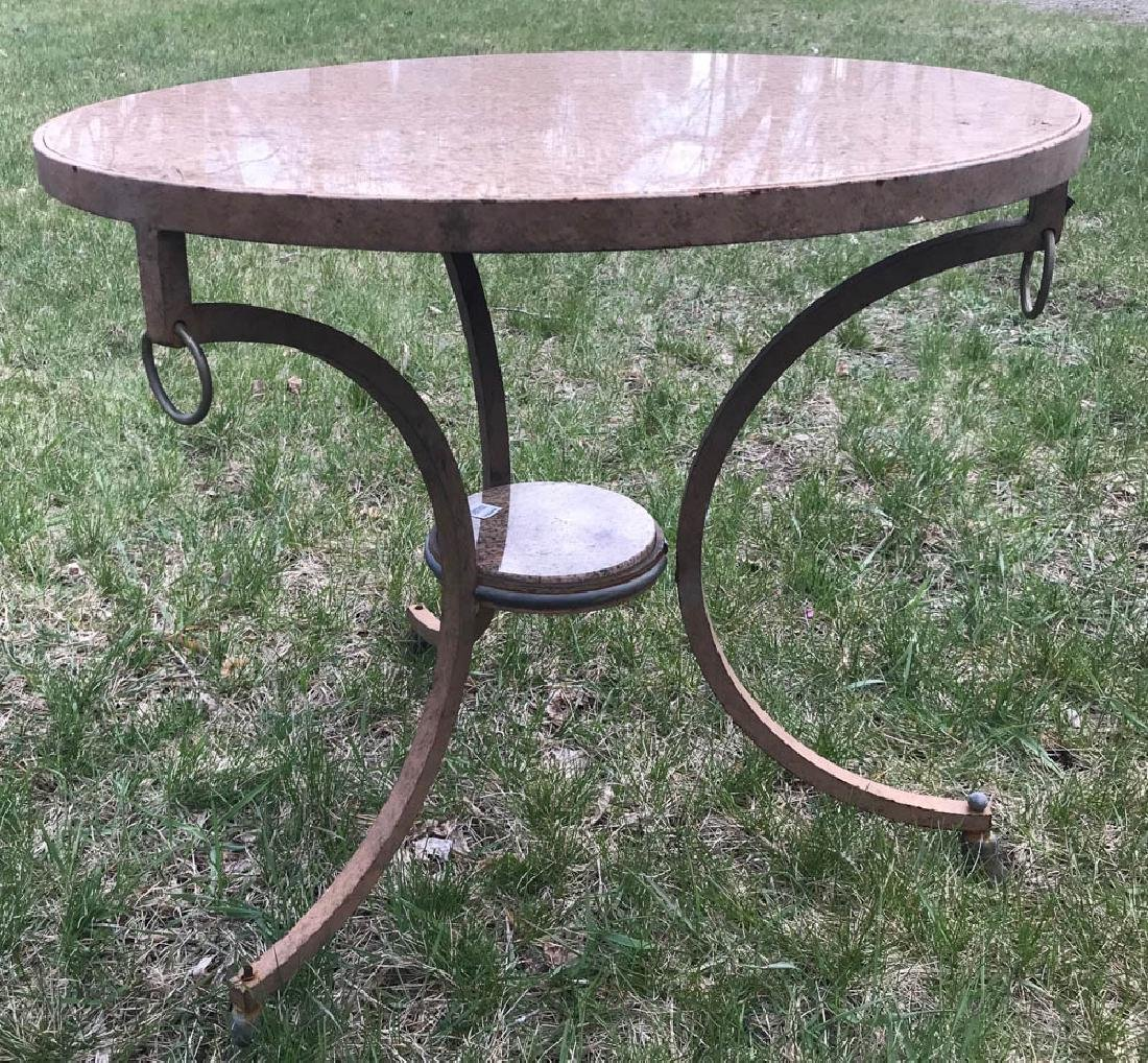 Classical Iron and Brass Marble Top Table - 2