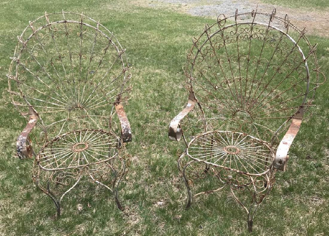 Pair of Fan Back Wrought Iron Chairs
