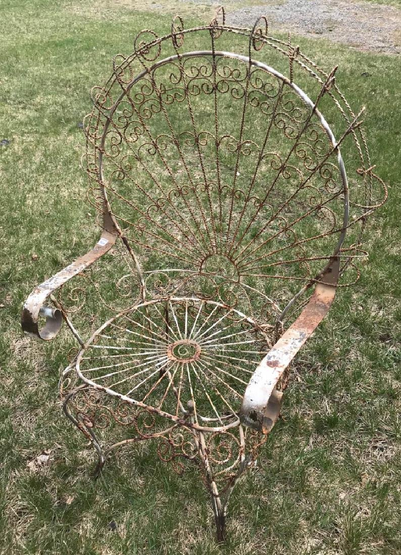 Pair of Fan Back Wrought Iron Chairs - 2