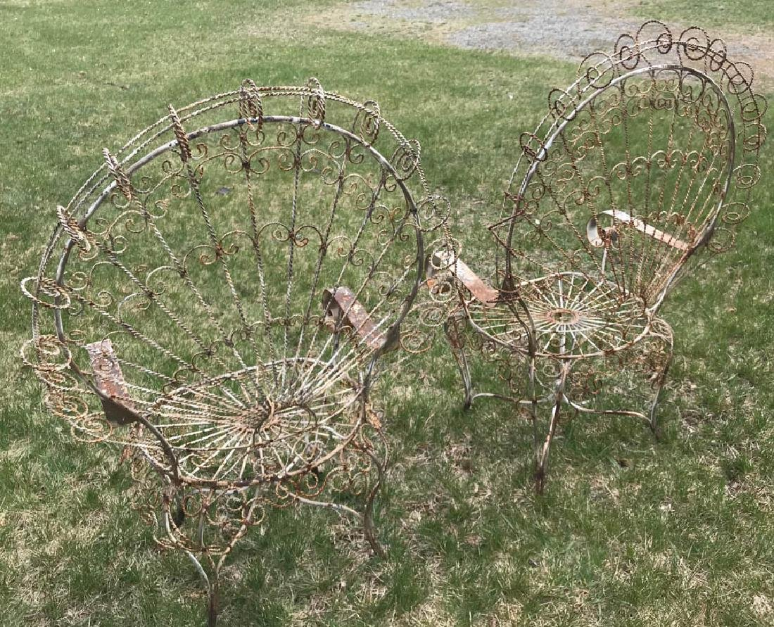 Pair of Fan Back Wrought Iron Chairs - 3