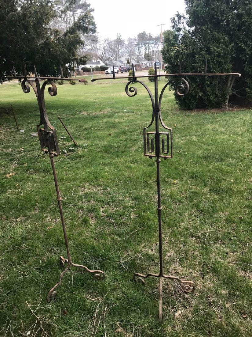 Pair of Tall Wrought Iron Candelabra - 2