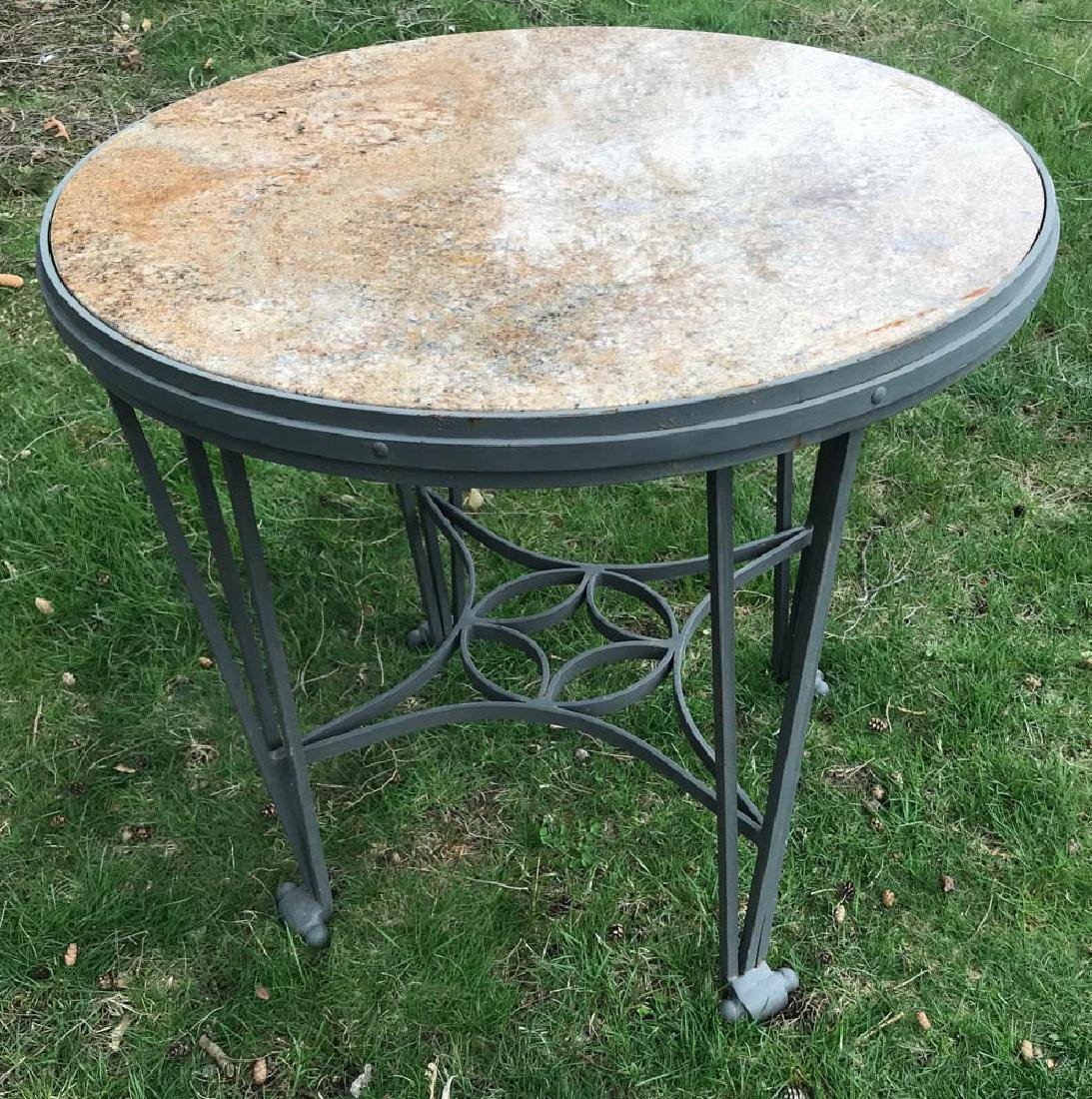 Neoclassical Style Wrought Iron Marble Top Table