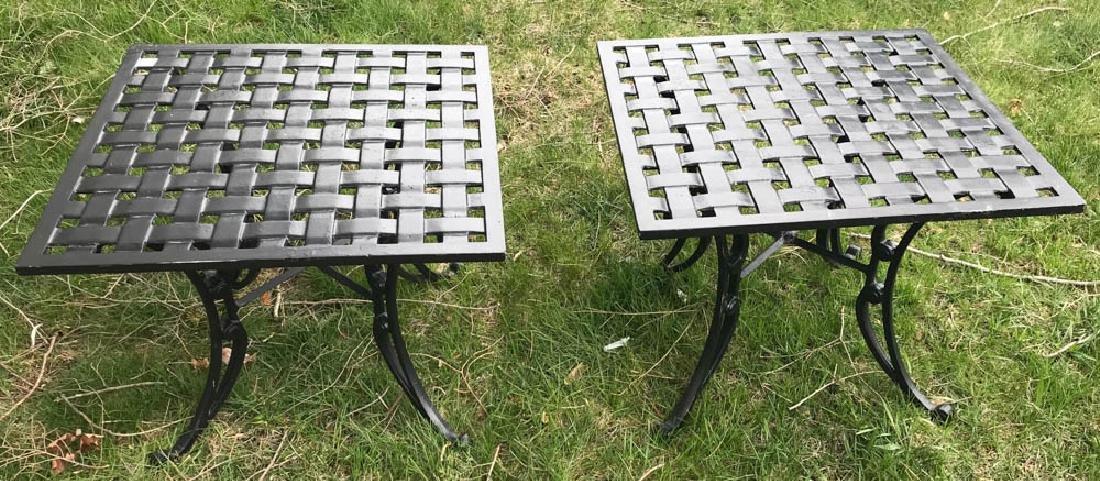 Pair of Black Cast Aluminum Tables