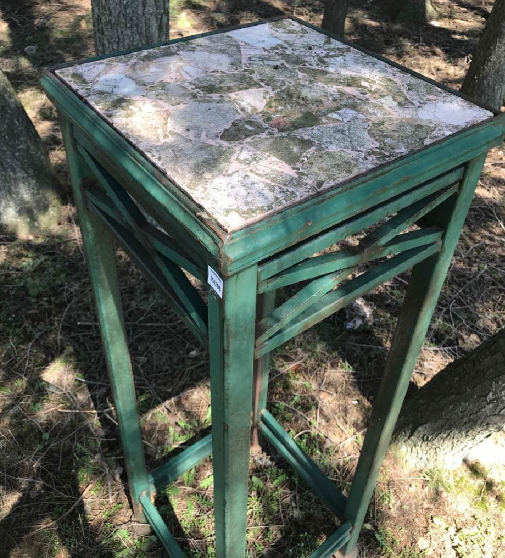 Green Painted Metal Marble Top Plant Table - 2