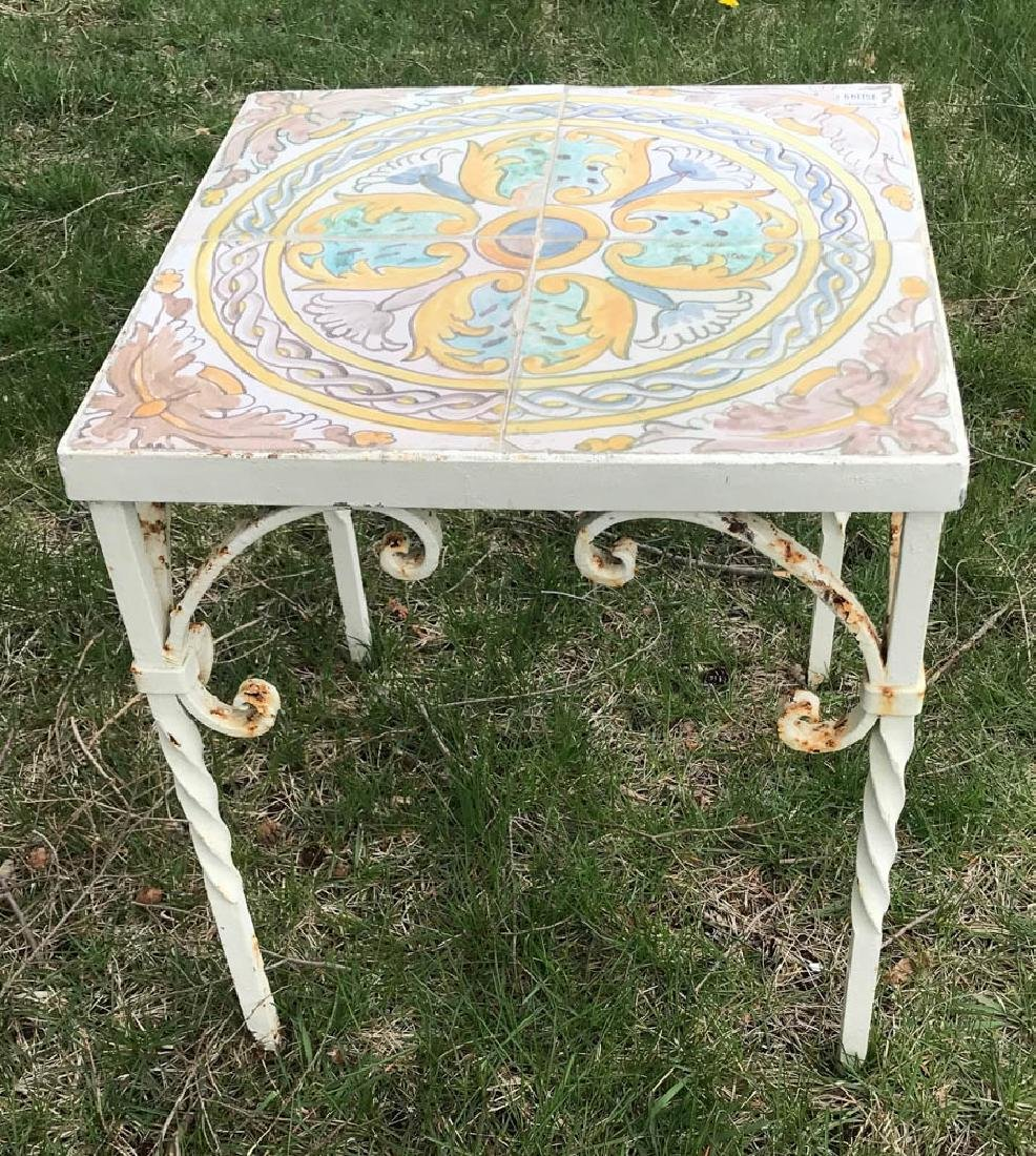Antique Wrought Iron Tile Top Table