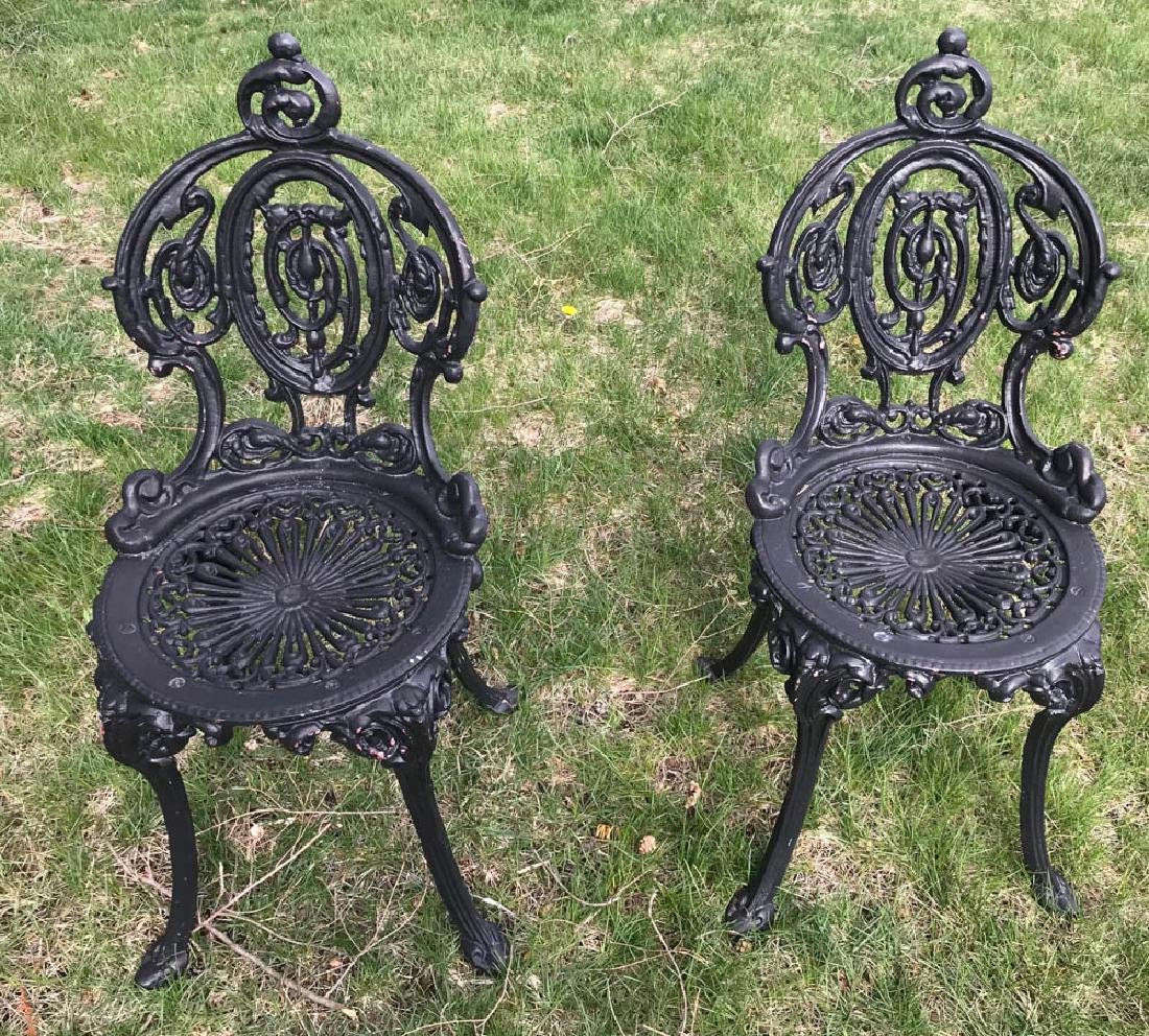 Pair of Victorian Style Black Metal Chairs
