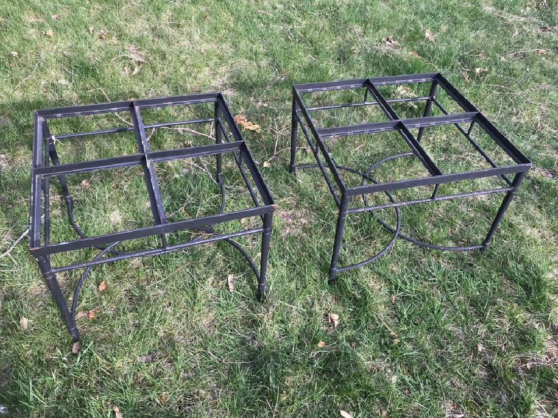 Pair of Black Wrought Iron Tables