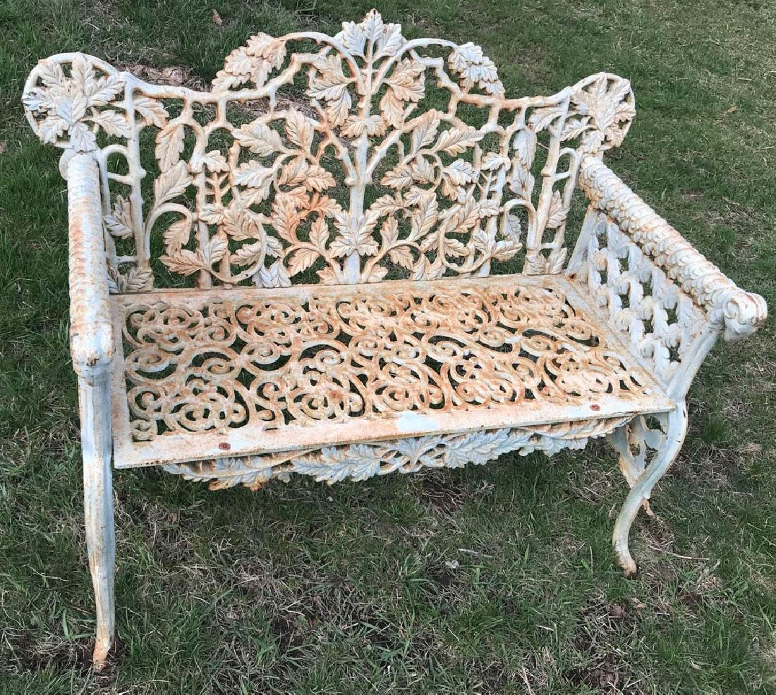 Victorian Style Painted Cast Iron Bench