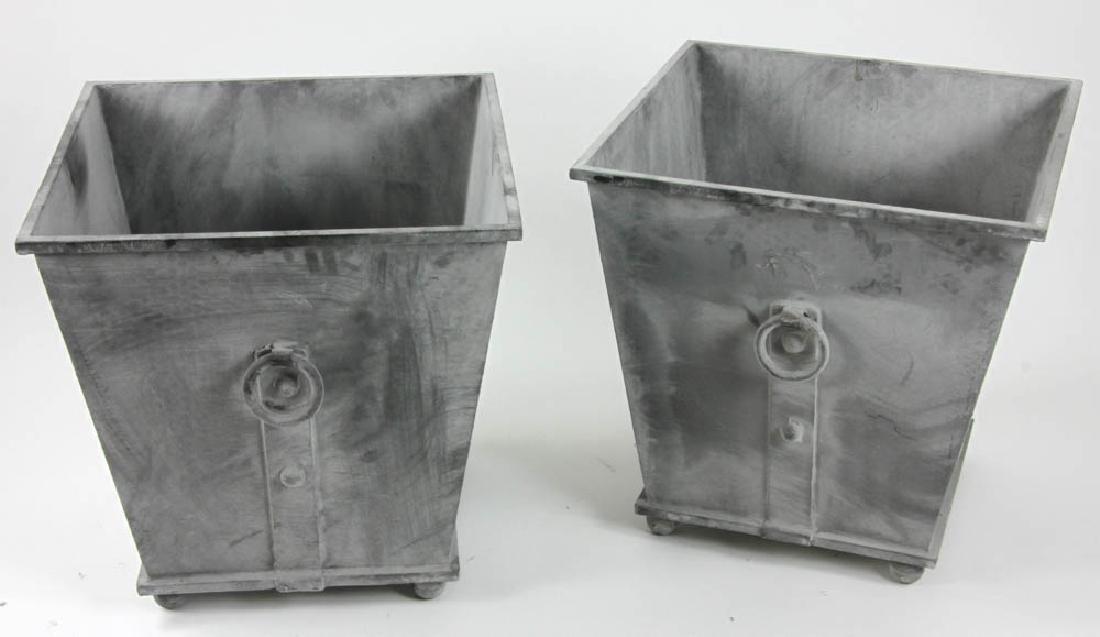 Pair of Grey Metal Square Planters