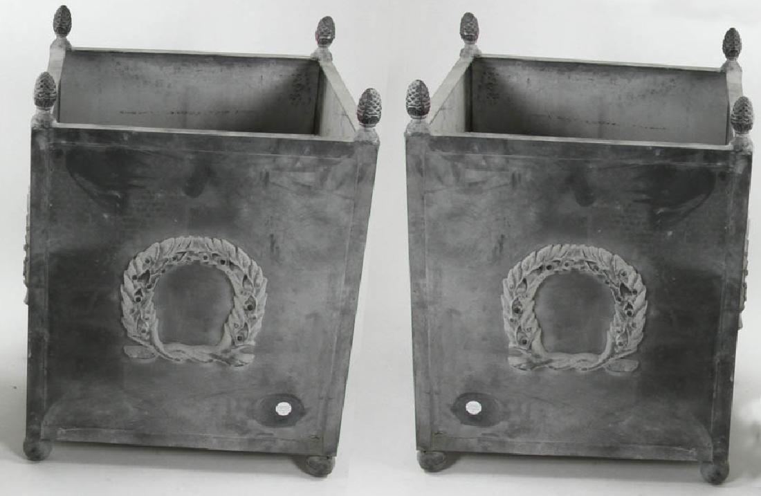 Pair of Georgian Style Grey Metal Planters