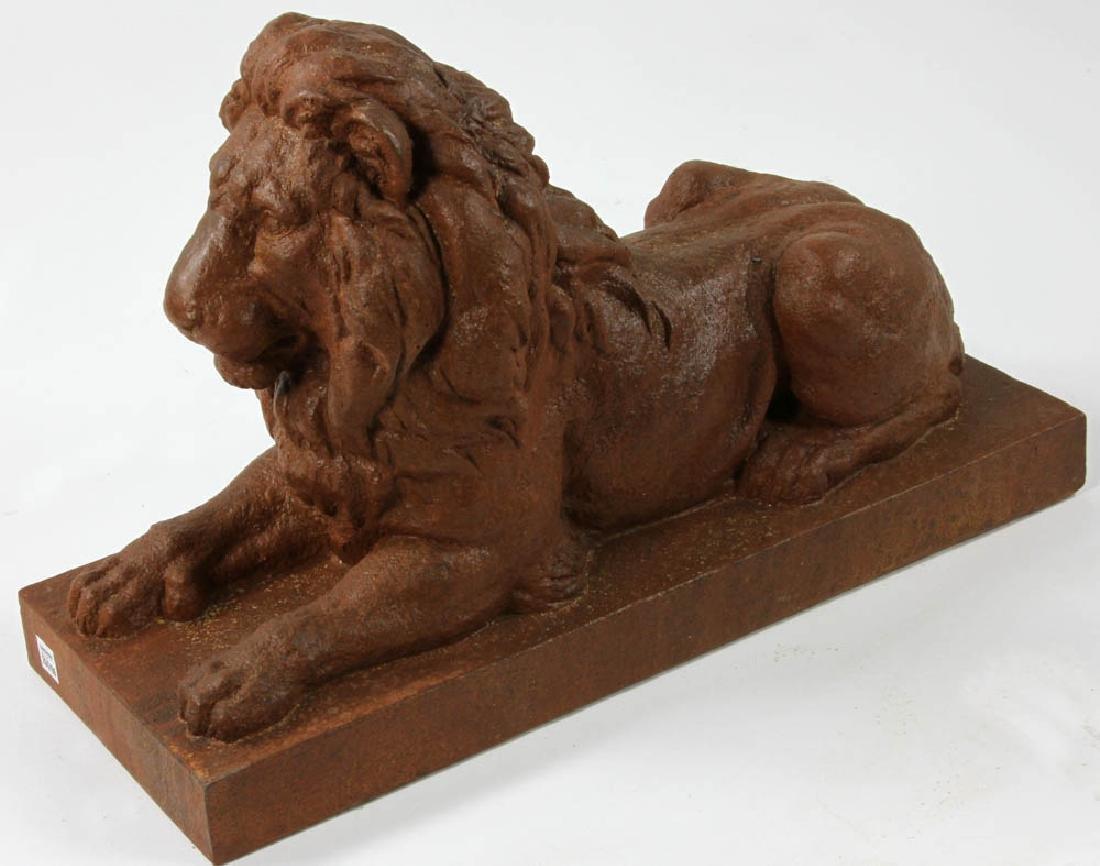 Cast Cement Recumbent Lion Statue