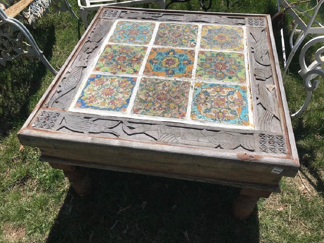 Spanish Wood Low Table with Tile Top