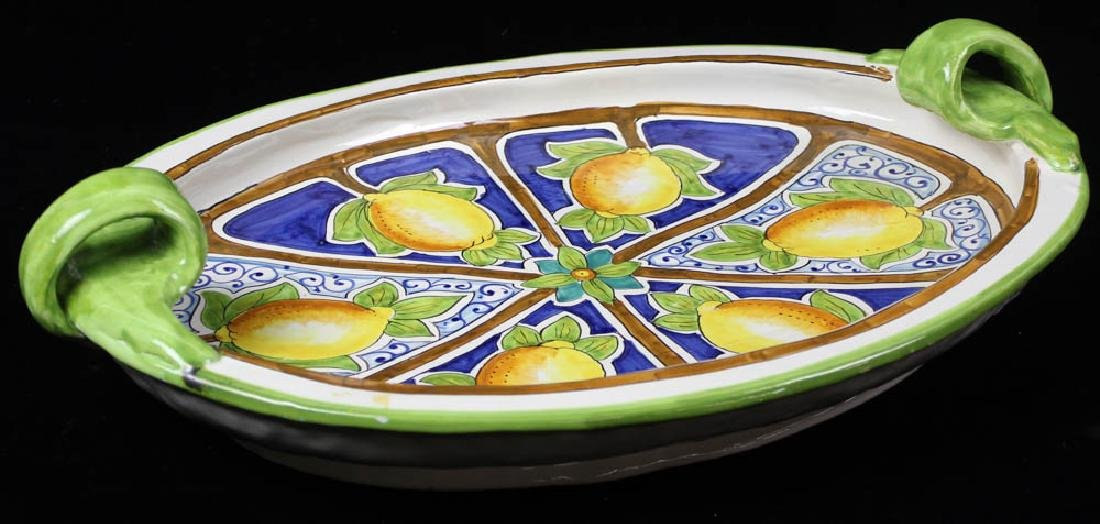 Italian Glazed Pottery Handled Platter