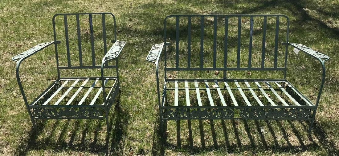 Green Metal Patio Settee and Chair