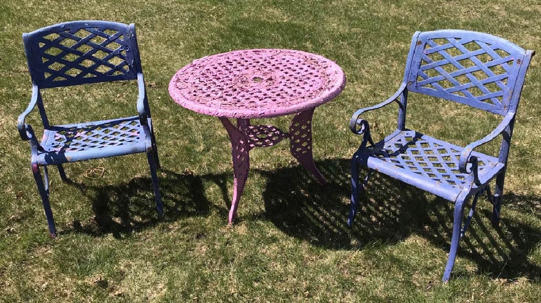 Cast Iron Lavender Table with Blue Chairs