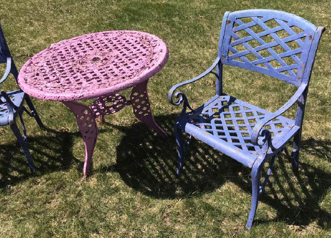 Cast Iron Lavender Table with Blue Chairs - 2
