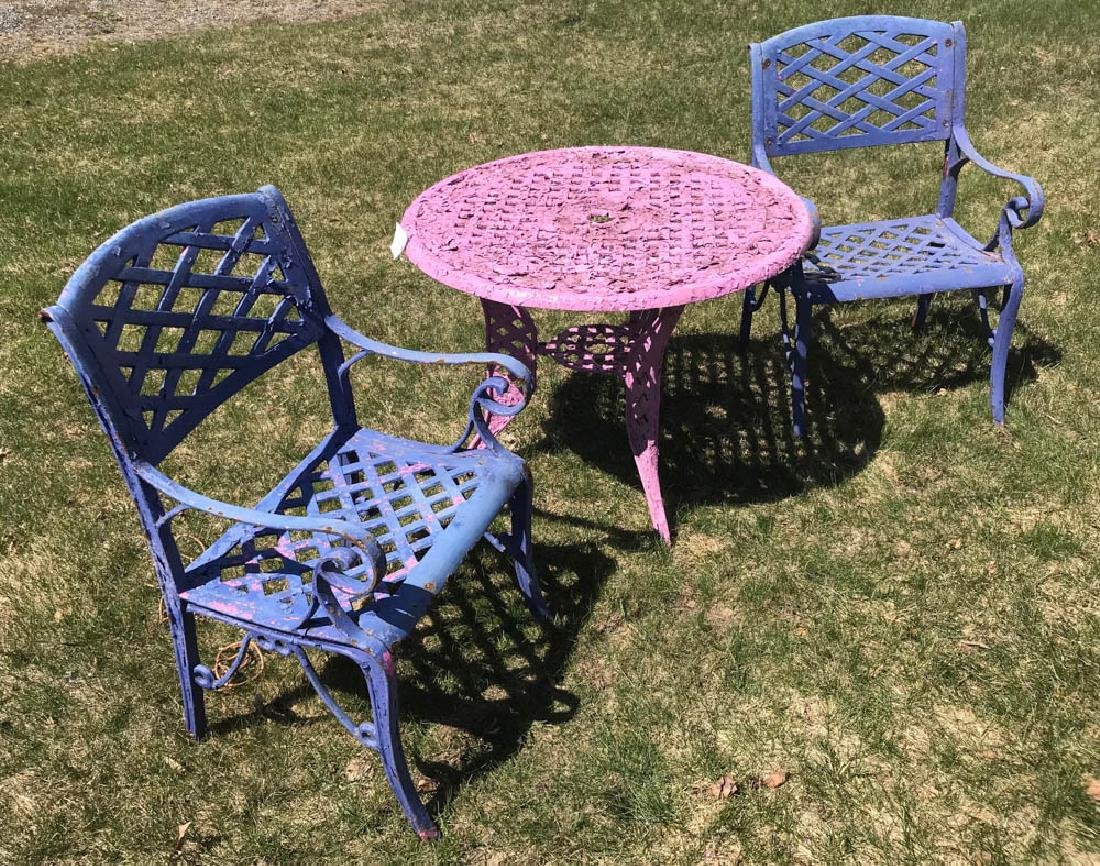 Cast Iron Lavender Table with Blue Chairs - 3