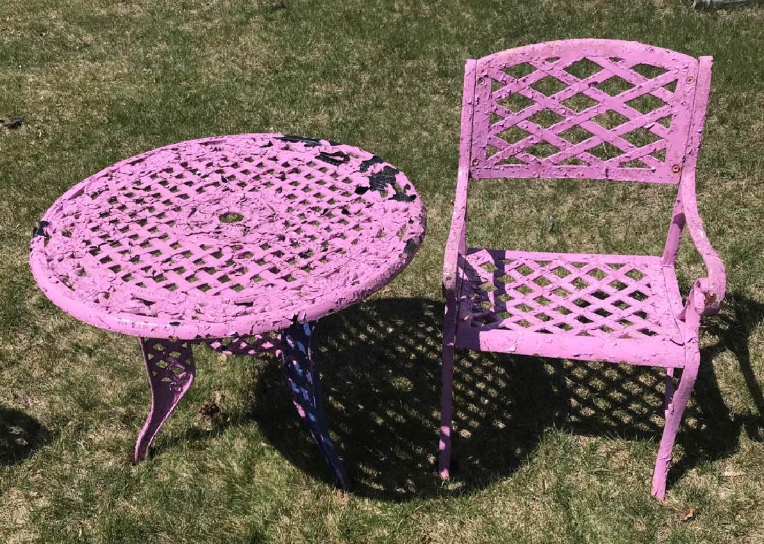 Cast Iron Lavender Table with Chair