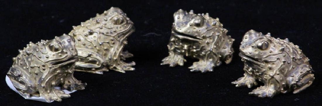 Four Bronze Toads Signed Karen Callan