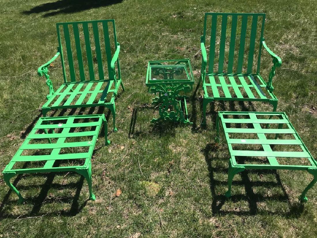 Eight Piece Green Metal Patio Set