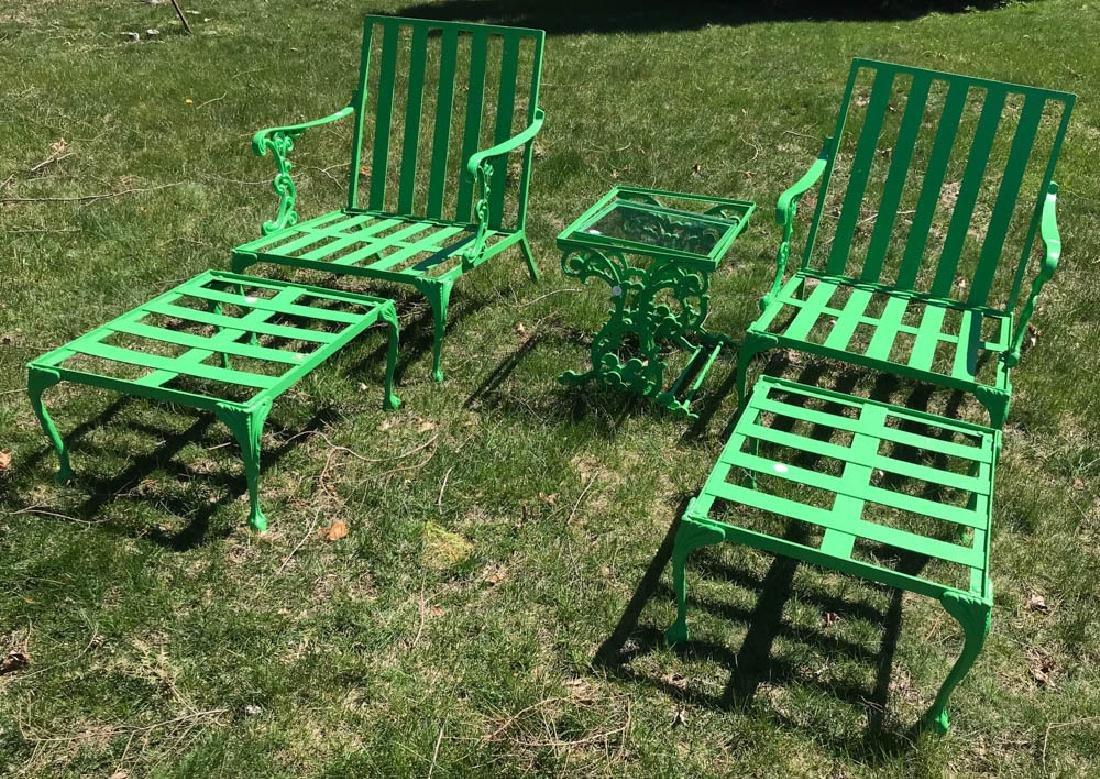 Eight Piece Green Metal Patio Set - 2