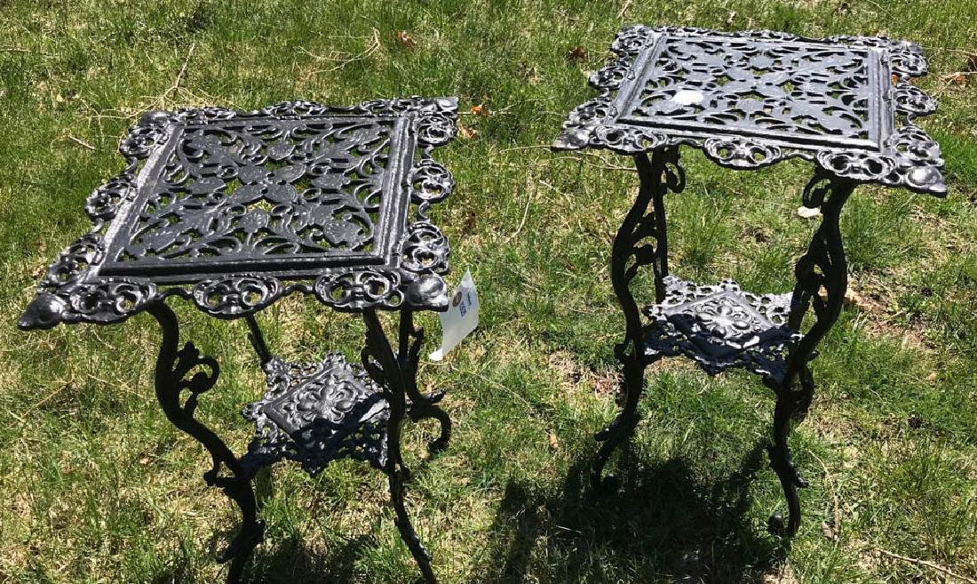 Pair of Decorative Black Metal Tables